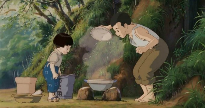 Seita y Setsuku cocinando arroz