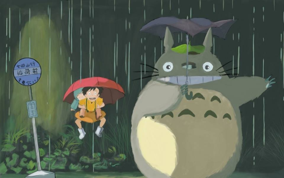 Mi vecino totoro paraguas lloviendo