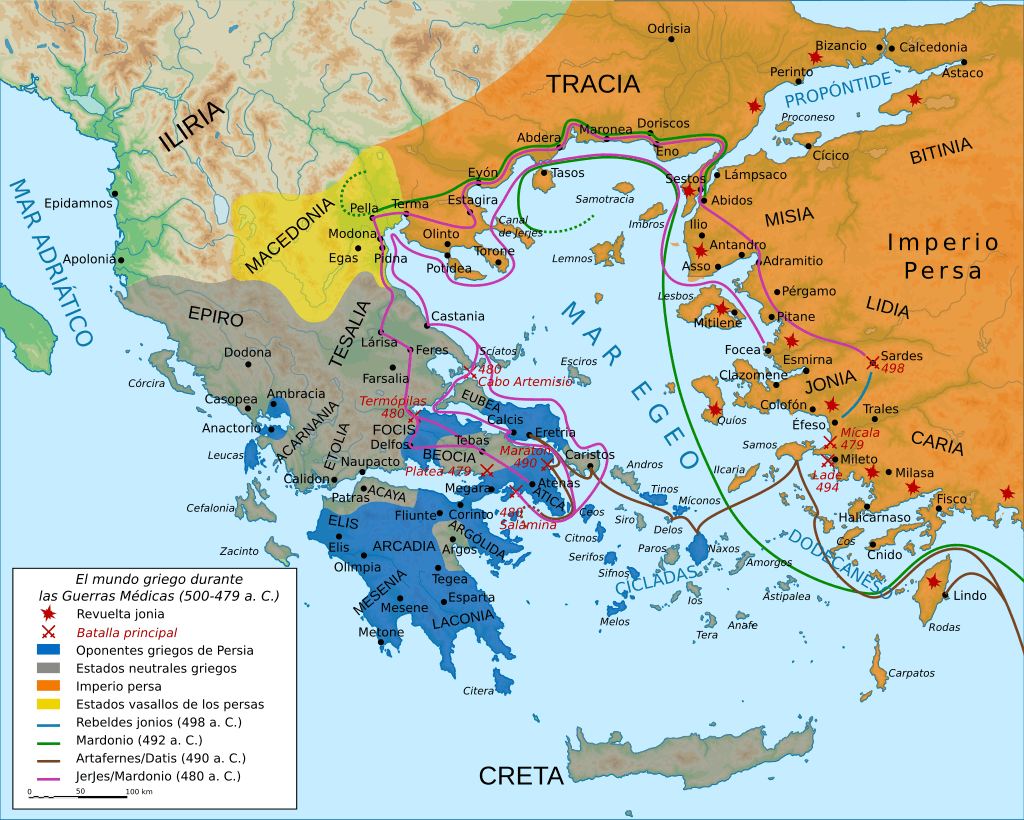 Mapa batalla de las termópilas