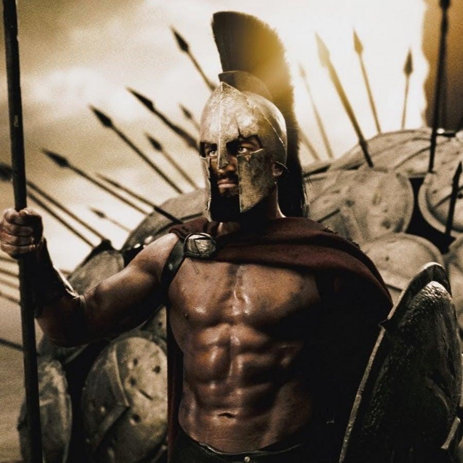 Guerero espartano preparado para la batalla