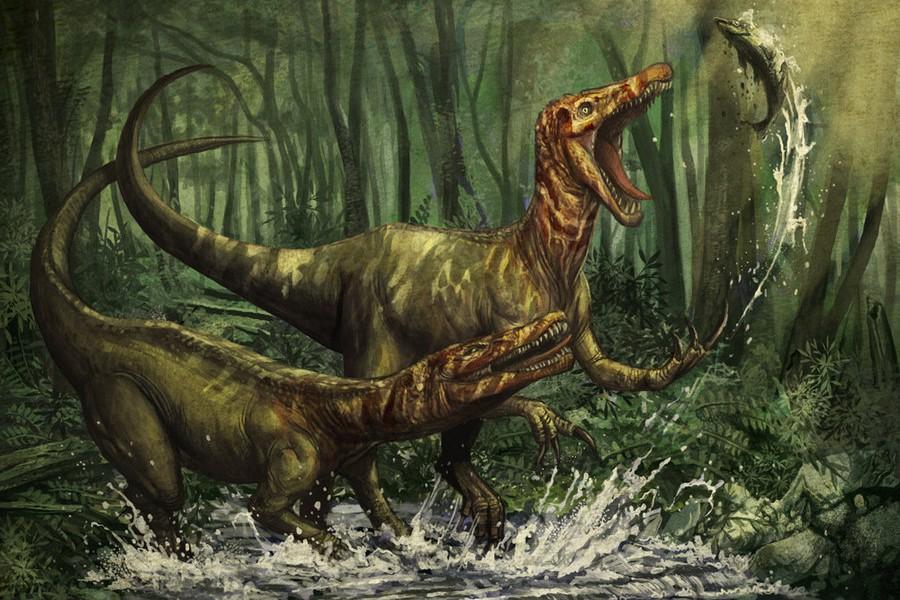 El dinosaurio Baryonyx Walkeri pescando