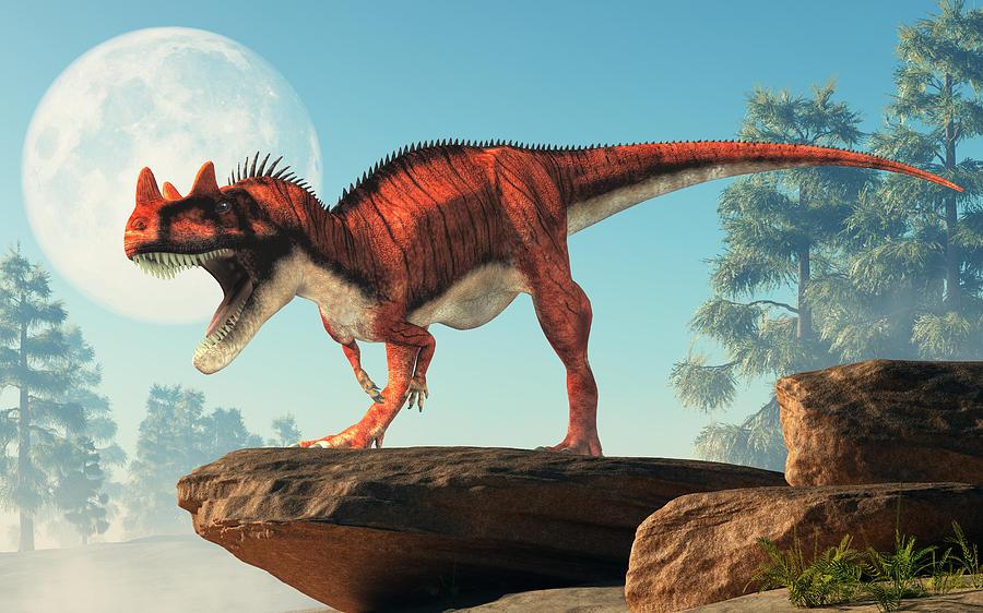 Ceratosaurus dinosaurio rojo con cuerno